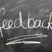 Feedback written on a chalkboard