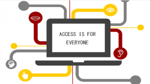 "Diagram entitled ""Access if for Everyone"" written in the centre of a screen with pathways leading to various icons of the senses"