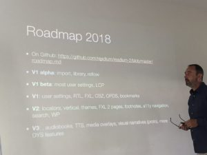 Laurent Le Meur presenting the EDRLab Roadmap for 2018