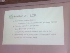 Slide displaying details of the readium 2 LCP project