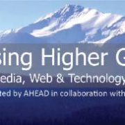 AHG conference logo with conference details listed underneath the image of a mountain