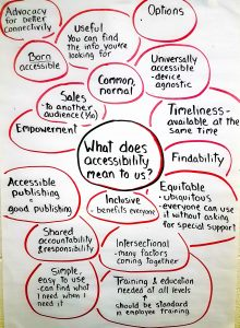 """What does accessibility mean to us""- list of ideas from delegates"