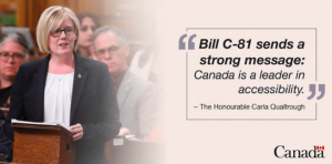 "Photograph of the Hon Carla Qualtrough at a podium with a quote in a side box which reads ""Bill C-81 sends a strong message: Canada is a leader in accessibility""."