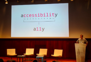 Ken Jones' first slide at the #dpubsummit a11y=accessibility