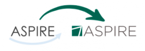 The old logo for the ASPIRE project, left of image, is replaced by the new ASPIRE service logo, a green square with a white arrow tilted at 45 degrees and resembling a letter A.