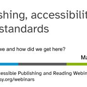 cover slide for Publishing, accessibility, W3C standards