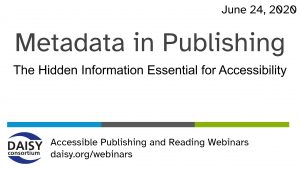 Metadata in Publishing webinar cover slide