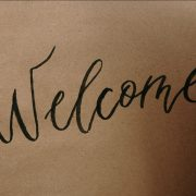 "A large ""welcome"" written by hand"