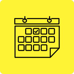OUtline of a calendar to signify an events listing