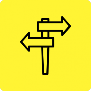 Signpost icon on a yellow poster indicating links